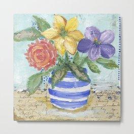 Three Flowers in a Striped Vase Metal Print