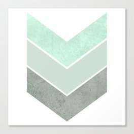 MINT TEAL GRAY CONCRETE CHEVRON Canvas Print
