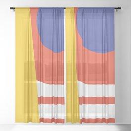 Blue Moon - Retro Stripes - Geometric  Design Sheer Curtain