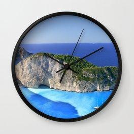 Summer beach Ionian Sea Zakynthos Greece Navaio Wall Clock