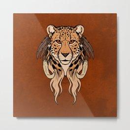 Tribal Cheetah Metal Print