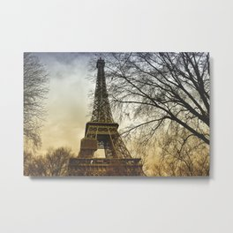 Winter sunset near the Eiffel tower in Paris Metal Print