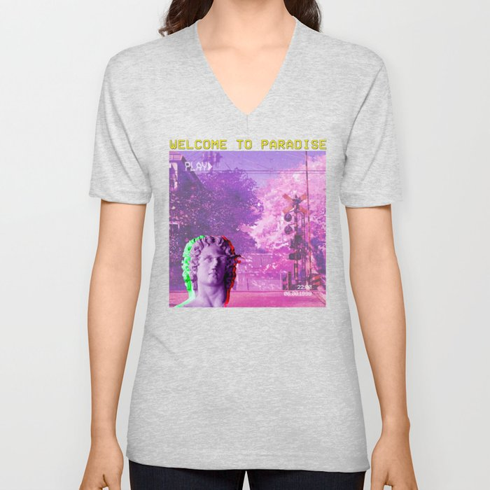 Retro Aesthetic Streetwear Gift Vaporwave Welcome to paradise Unisex V-Neck