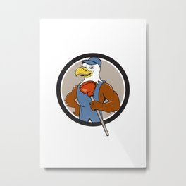 Bald Eagle Plumber Plunger Circle Cartoon Metal Print