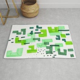Colorful Green Minimalist Abstract Mid Century Modern Pattern Geometric Fun Art Rug