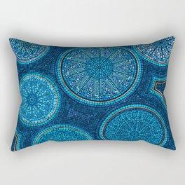 Dot Art Circles Abstract Blue with gold accent Rectangular Pillow