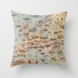 Vintage Map of Europe (1842) Throw Pillow