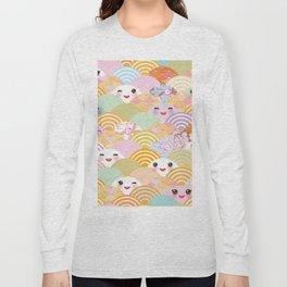 seamless pattern Kawaii with pink cheeks and winking eyes with japanese sakura flower Long Sleeve T-shirt