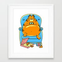 garfield Framed Art Prints featuring garfield by Vincent Trinidad