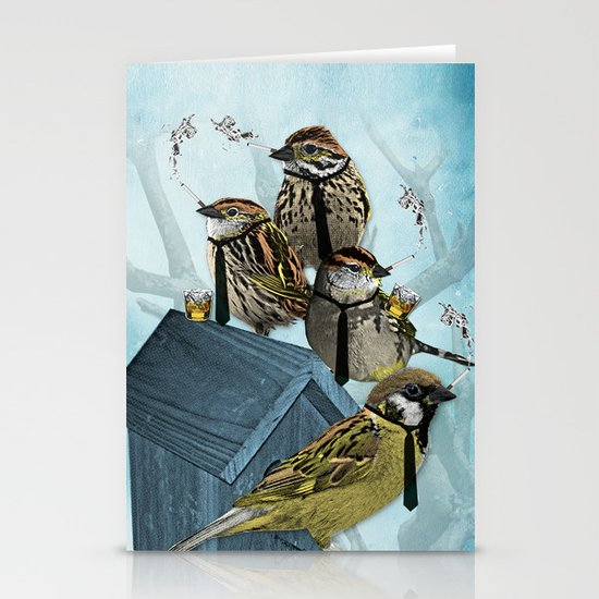 Smoking Birds Print Stationery Cards