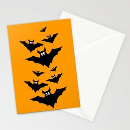 Cool cute Black Flying bats Halloween Stationery Cards