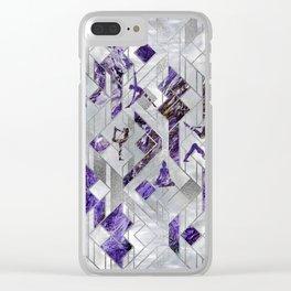 Yoga Asanas in Amethyst on geometric pattern Clear iPhone Case