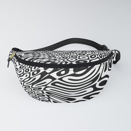 Black  and white psychedelic optical illusion Fanny Pack