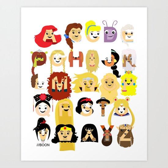 Princess Alphabet Art Print