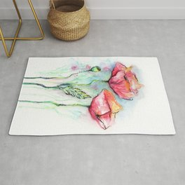 Poppies Watercolor Sketch Red Flowers Rug