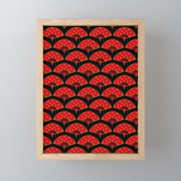 Exotic Red Chinese Dance Fans on Black Framed Mini Art Print