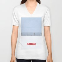 fargo V-neck T-shirts featuring Ice Scraper by Cameron Chapman