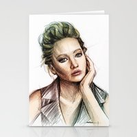 jennifer lawrence Stationery Cards featuring Jennifer Lawrence by Creadoorm