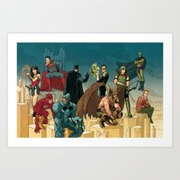 league Art Prints featuring Justice League by David M. Buisán