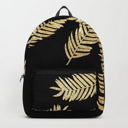 Gold Glitter Palms  |  Black Background Backpack