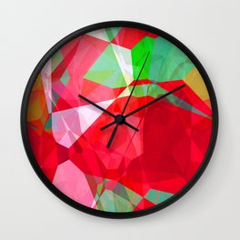 Mixed color Poinsettias 3 Abstract Polygons 2 Wall Clock