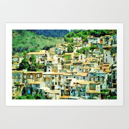 Buildings of the village on the hill among the trees Art Print