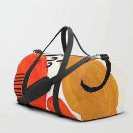 Fun Abstract Minimalist Mid Century Modern Yellow Ochre Orange Organic Shapes & Patterns Duffle Bag