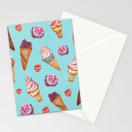 Pink and Blue ice cream pattern Stationery Cards