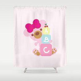 Melody the Pink Bear Shower Curtain
