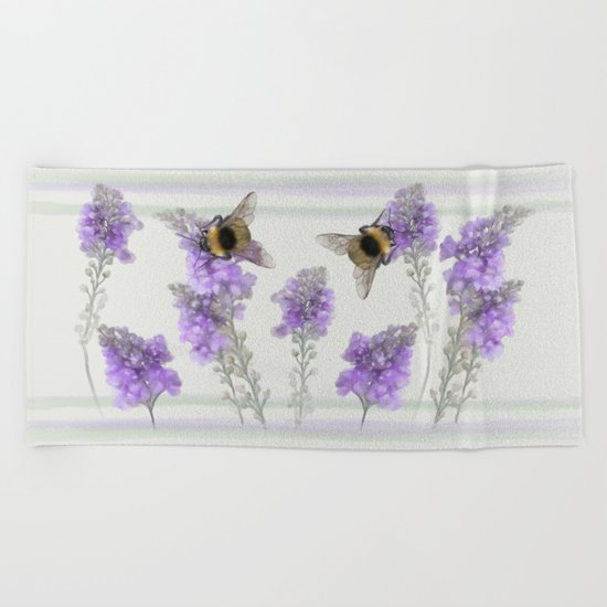 Watercolor Bumble Bee Beach Towel