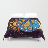 astrology Duvet Covers featuring Astrology, Capricorn by Karl-Heinz Lüpke