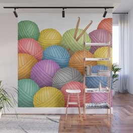 Two Crochet Hooks And A Lot Of Yarn Wall Mural