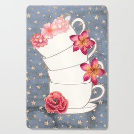 Floral Coffee Cups Cutting Board