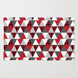 Quilt pattern buffalo check pattern red black and white with grey minimal camping Rug