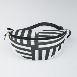 Black and White Abstract Stripe Heart Fanny Pack