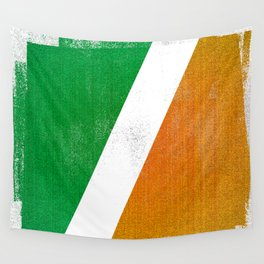Irish Distressed Halftone Denim Flag Wall Tapestry