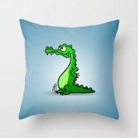 crocodile Throw Pillows featuring Crocodile by Cardvibes.com - Tekenaartje.nl