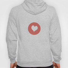 Striped heart red Hoody