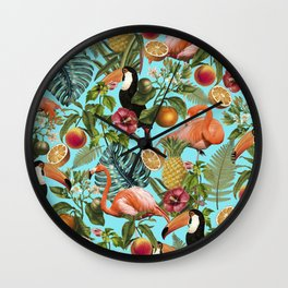 The Tropics, Tropical Botanical Colorful Wildlife Illustration, Tucan Flamingo Monstera Jungle Fruit Wall Clock
