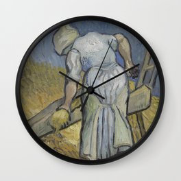 Peasant Woman Bruising Flax (after Millet) Wall Clock