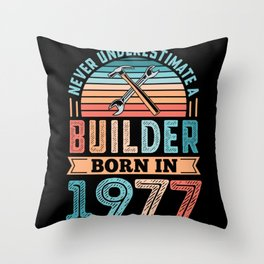 Builder born in 1977 50th Birthday Gift Building Throw Pillow