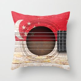 Old Vintage Acoustic Guitar with Singapore Flag Throw Pillow
