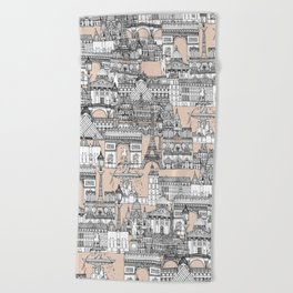 Paris toile sugar pink Beach Towel