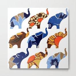 Vintage Blue & Brown Floral Elephants Metal Print