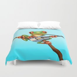 Tree Frog Playing Acoustic Guitar with Flag of Argentina Duvet Cover