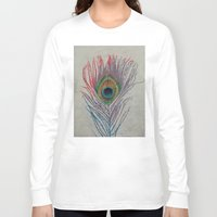 peacock feather Long Sleeve T-shirts featuring Peacock Feather by Michael Creese