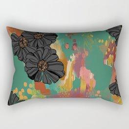 Black Zinnia Rectangular Pillow