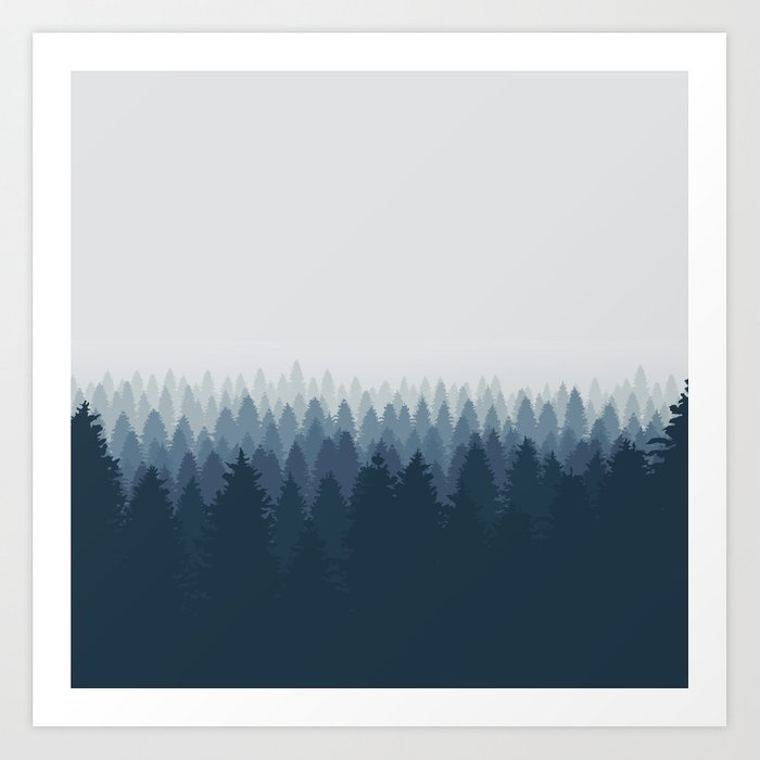 Autumn Blue mountain Art Print