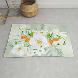White Orchid Series: Orchid and Kumkwat Palms Rug
