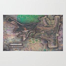 redstart bird canvas collage Rug